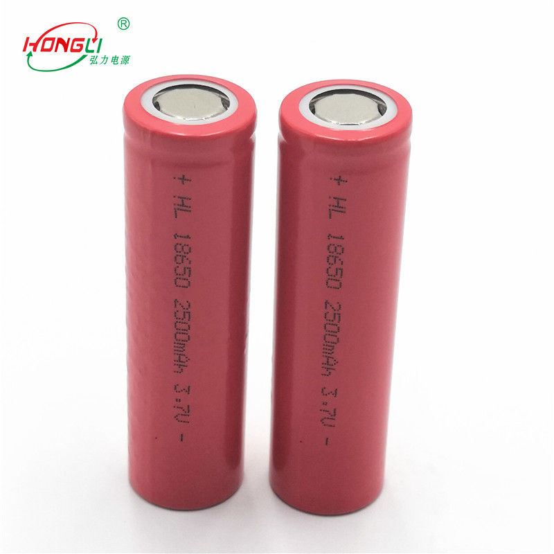 Red 2500mAh 18650 3.7 V Lithium Ion Cell 500 Cycles / Power Bank Battery Cell